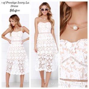 Lulus White Lace Strapless Dress